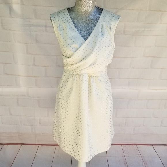 Maison Jules Dresses & Skirts - Maison Jules Gold Polka Dots White Dress
